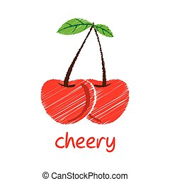 cheery fruit design - creative cheery fruit, pencil sketch...