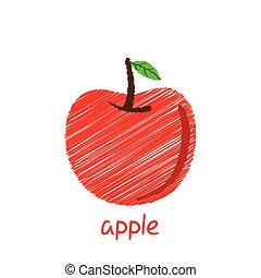 apple fruit design - creative apple fruit, pencil sketch...