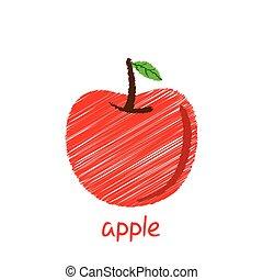 apple fruit design - creative apple fruit, pencil sketch...