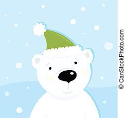 White polar bear on snow - Cute polar bear character with...