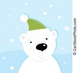 White polar bear on snow - Cute polar bear character with...
