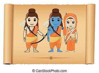 Happy Ram Navami - Ramayana Vector Illustration