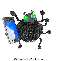 3d Spider has a smartphone - 3d render of a spider using a...
