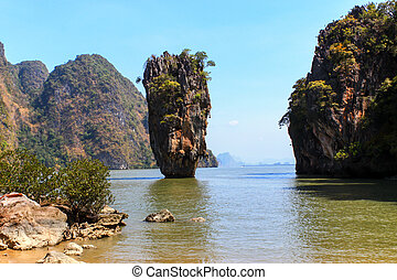 Ko Tapu or James Bond Island, Thailand. Land mark tourism in...