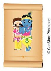Radhe and Shyam - Indian God Vector Illustration