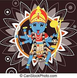 Indian Deity - Maa Kali Vector Illustration