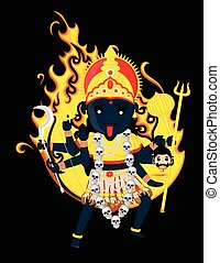 Maa Kali Vector Illustration - Goddess of Time, Change,...
