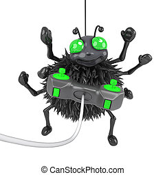 3d Spider plays videogames - 3d render of a spider playing a...