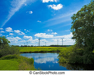 landscape, wind farm and pond