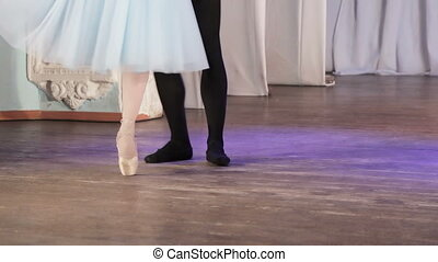 Ballet pair feet - On stage legs dancing ballet couple