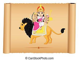 Hindu Goddess Maa Durga Vector Illustration