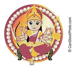 Hindu Goddess - Maa Durga Vector Illustration
