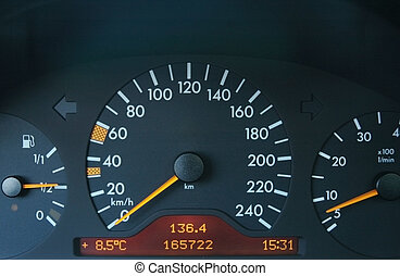 Close up of the car black dashboard