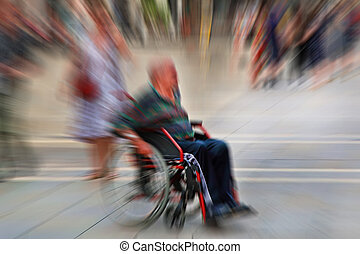 Abstract background. A disabled person in a wheelchair on a...