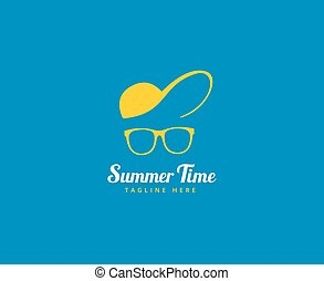 Abstract vector logo elements. Vocation, summer time, glasses with cap. Stock illustration for design
