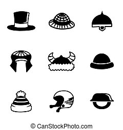 Vector helmet and hat icon set on white background