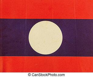 Grunge paper laos flag