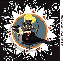 Indian God of Death - Shani Dev Vector Illustration