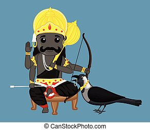 Shanidev - Indian God Vector Illustration