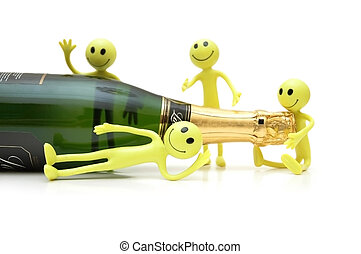 Figures of Smiley around a bottle of champagne