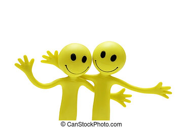 Figures of smilies hugging each other