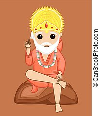 Om Sai Ram - Indian Mythology God Vector Illustration