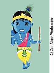 Cute Bal Krishna Blessing Vector - Cute Bal Krishna Blessing...