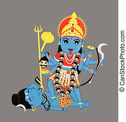 Hindu Goddess Kali Mata Vector Illustration