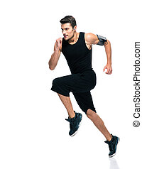 Fitness man running isolated - Full length portrait of a...