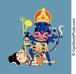 Maa Kali Standing Over Lord Shiva - Indian Mythology Goddess...