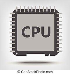 Central processor unit icon as a concept