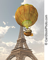 Hot Air Balloon and Eiffel Tower - Computer generated 3D...