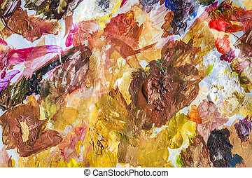 Abstract acrylic paint palette of colorful, mix color,...