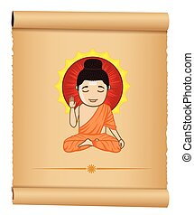 Yogi Gautam Buddha Vector Illustration