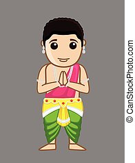 Praying Siddharth - Gautam Buddha Vector Illustration