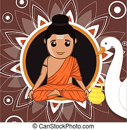 Gautam Buddha Cartoon Character Vector Illustration