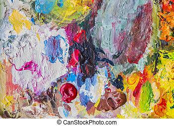 Extracto, acrílico, Pintura, paleta, de, colorido,...