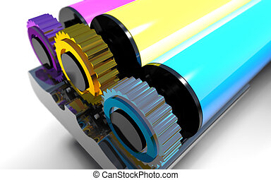 Rollers of printer. - Roller block of color printer is on a...