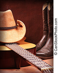 American Country music background with guitar and cowboy...