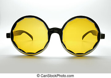 glasses / eye wear - Yellow retro / vintage glasses / eye...