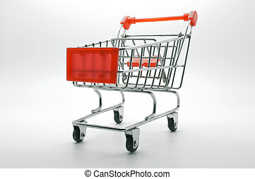 Empty shopping cart, side view, on white background