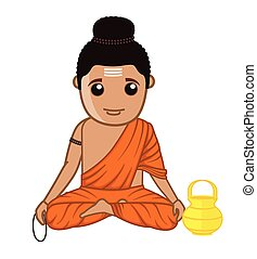 Gautam Buddha - Saint Character Vector Illustration