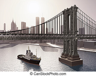 Manhattan Bridge - Computer generated 3D illustration with...