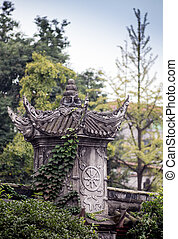 Chinese hardscape, a park with a pond - Beautiful pond in...