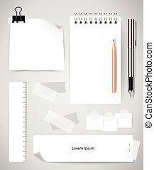 Note book and note papers, Business working elements for web design , mobile applications, social networks.