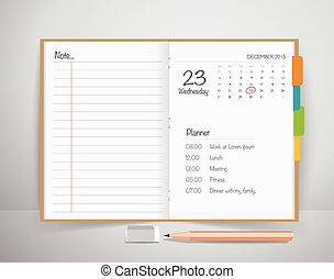 Note book with pencil, Business working elements for web design , mobile applications, social networks.