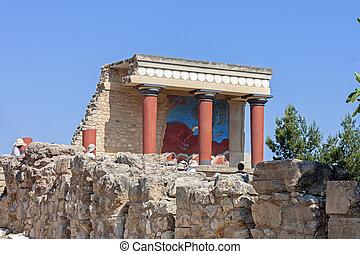 Knossos, Palácio, em, crete,
