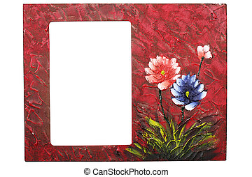 photo frame - wooden painted textured photo frame