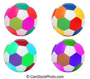 Footballs of four different colors isolated on white