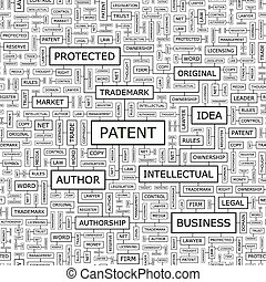 PATENT. Seamless pattern. Word cloud illustration.